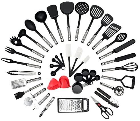 NEXGADGET 42 Pièces Kit Ustensiles de Cuisine en Acier Inoxydable, Set d'Ustensiles de Cusine en Silicone, Lot d'Accessoires Cuisine, Multiples Ensemble Comprend Spatule, Cuillère, Fouet et Plus
