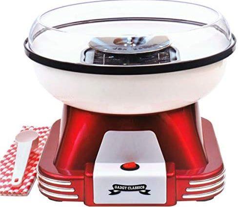 Gadgy Machine a Barbe a Papa   Retro Cotton Candy Appareil pour Maison   Utiliser Sucre Ordinaire ou Bonbons Durs Sans Sucre   500W Rouge