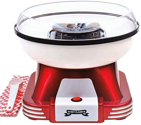 Gadgy Machine a Barbe a Papa | Retro Cotton Candy Appareil pour Maison | Utiliser Sucre Ordinaire ou Bonbons Durs Sans Sucre | 500W Rouge