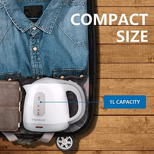 Aigostar Juliet 30HIO - Bouilloire électrique compacte d'une capacité de 1 litre, sans BPA et silencieuse. Couleur gris et blanc, puissance de 1100W et système de protection contre l'ébullition à sec