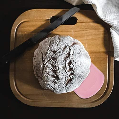 LUTER 2 Pièces 12x9,5cm Corne Pâtisserie - Coupe-pâte Grattoir a Pâte en Plastique pour Cuisine, Pâtisserie, Crêpes (Rose, Blanc)
