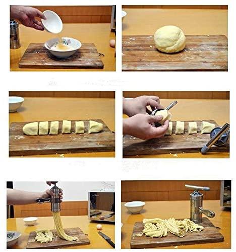 Machine à Pâtes en Acier Inoxydable, Machine à Pâtes avec 5 Moule, Nouilles Ménagères Manuelles Créatives de Cuisine
