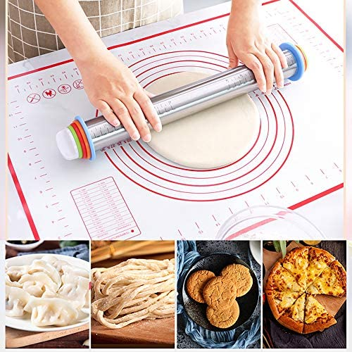 JAMITE Rouleau à Pâtisserie Réglable en Acier Inoxydable avec Anneau,Rouleau à Pâtisserie Réglable Professionnel avec 4 Disques Réglables,Utilisé pour La Cuisson des Pâtisseries Et des Biscuits.
