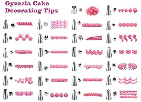 Douilles Pâtisserie, Gyvazla 32 Pièces en Acier Inoxydable DIY Kits, 25 Douilles, 2 Poches à Douille réutilisable, 2 Coupleurs, Puff Douille, Brosse, DIY Kits pour Décoration de Gâteaux