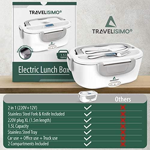 TRAVELISIMO Lunch Box Gamelle Chauffante Électrique pour Voiture Camion Bureau Travail 220V+12V, Chauffe en Quelques Minutes, Acier Inoxydable 1.5L 40W, Boîte Isotherme Repas Chaud