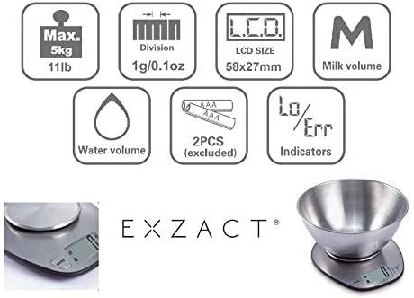 EXZACT Balance de Cuisine Électronique Multifonctionnelle Précise avec Grand Écran Numérique et Bol à Mélanger en Inox - 5 kg / 11lb (EX4350)