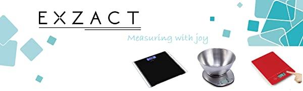 EXZACT Balance de Cuisine Électronique à Grand Écran avec Bol à Mélanger en Inox - 5 kg / 11lb