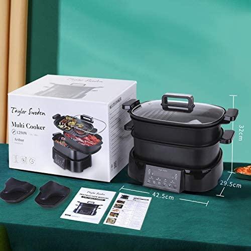 Taylor Swoden Arthur - Mijoteuse, grill et cuisson vapeur 3 en 1. Programmable 24h. Maintien au chaud 10h. Programmes prédéfinis ou mode manuel. Écran numérique et tactile. Sans BPA, 1250W.