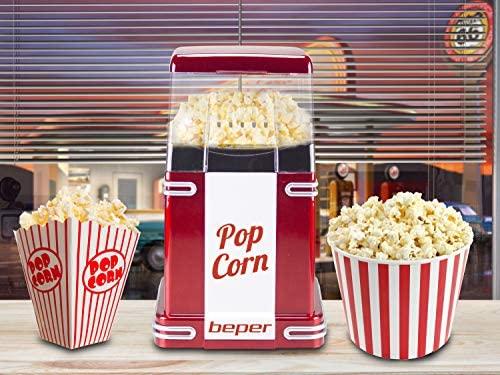 Beper - Machine à Pop-Corn, Pop-Corn en 3 Minutes, Sans Matières Grasses, Circulation d'Air Chaud, Puissance 1200W - Rouge [Classe d'efficacité énergétique B]