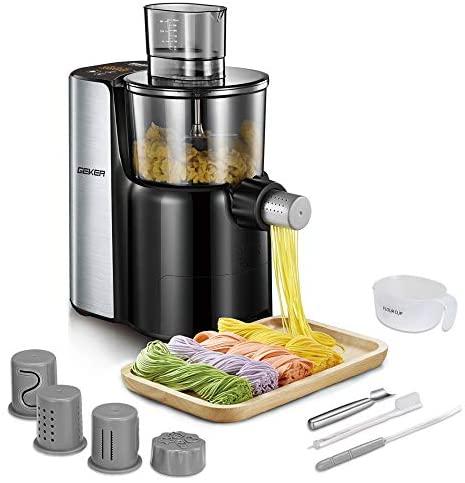 GEKER Automatique Machine à Pâtes Fraiche 200 W Appareil à Pâtes avec 9 Disques de Forme Gris Cachemire pour Faire des Pâtes Spaghettis tagliatelles lasagnes etc
