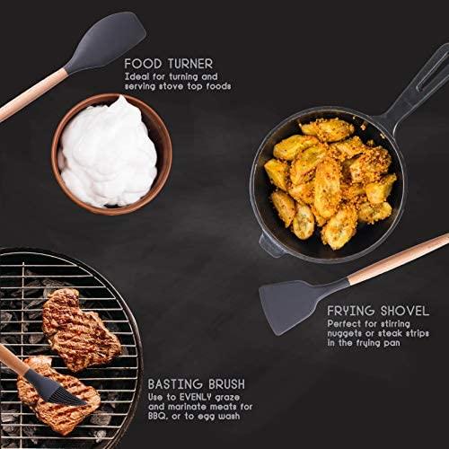 Set d'ustensiles de cuisine en silicone, 11 ustensiles de cuisine + cuillère à mesurer + tapis de pose + support de set d'ustensiles BoMo&Co. Set d'ustensiles de cuisine (Gris nuit)