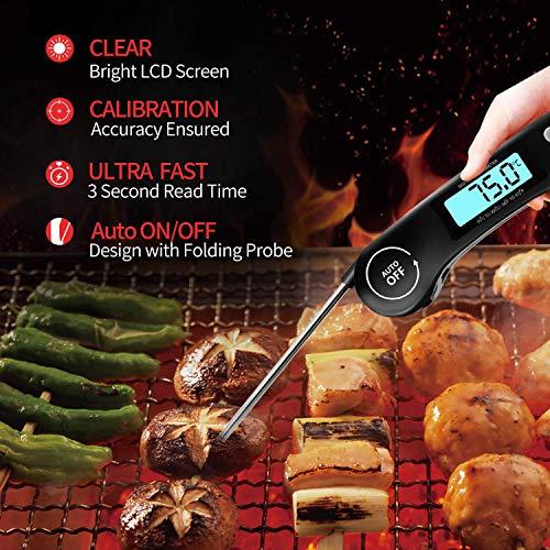 DOQAUS Thermomètre Cuisine, 3s Lecture instantané Thermomètre Cuisson, Thermomètre Viande, avec Écran LCD RétroÉclairage, Sonde Pliable pour Cuisson, Viande, BBQ, Steak, Huile, Lait, Vin (Noir)