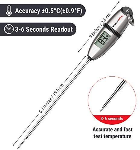 ThermoPro TP02S Thermomètre de Cuisson Numérique 5 Secondes Thermomètre Instantané Thermomètre pour Boissons Chaudes Lait Les Confiseries avec Longue Sonde