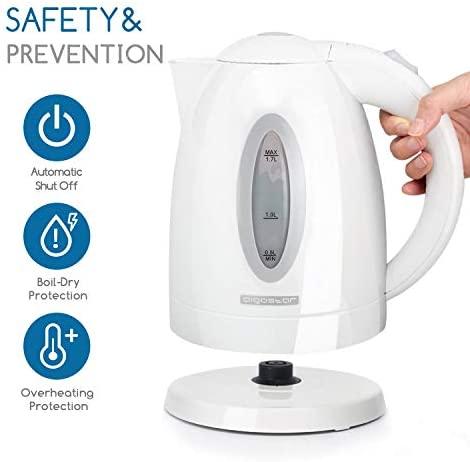 Aigostar – Bouilloire électrique d'une capacité de 1,7 litres, puissance de 2200W, sans BPA, arrêt automatique et système de protection contre l'ébullition à sec.