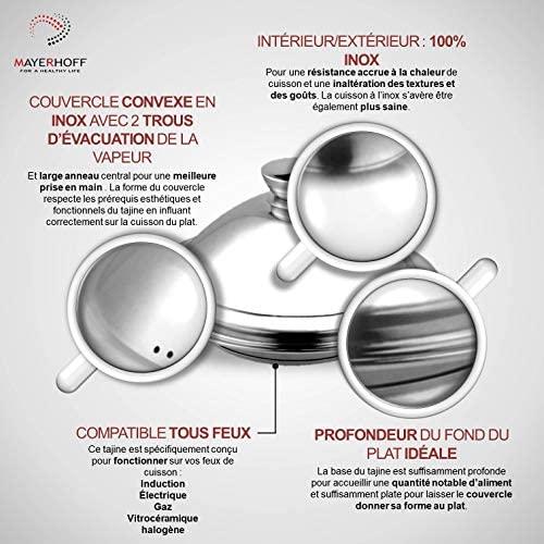 Mayerhoff Tajine en Acier Inoxydable Compatible Tous Feux Dont Induction (Diamètre : 34cm)