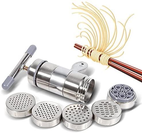 、Machine à Pâtes en Acier Inoxydable, Machine à Pâtes avec 5 Moule, Nouilles Ménagères Manuelles Créatives de Cuisine
