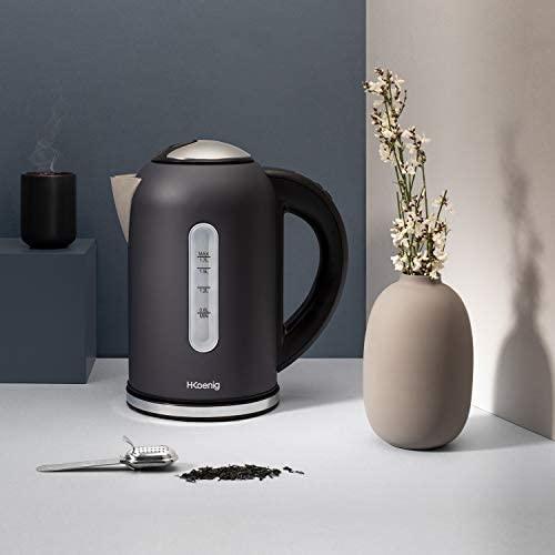 H.Koenig Bouilloire électrique programmable Inox 1,7L gris mat BOE52 Adaptable Thermostat réglable 40-100°C, Ebullition rapide, Compacte, Maintien au chaud, thés verts/blancs/noirs infusions, 2200W
