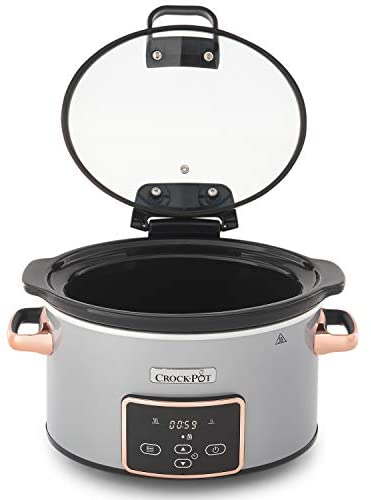 Crock-Pot Mijoteuse Électrique Programmable avec Couvercle à Charnière et Affichage Numérique, 3,5 Litres (3-4 Personnes), Fonction Maintien au Chaud, Coloris Argent et Cuivre