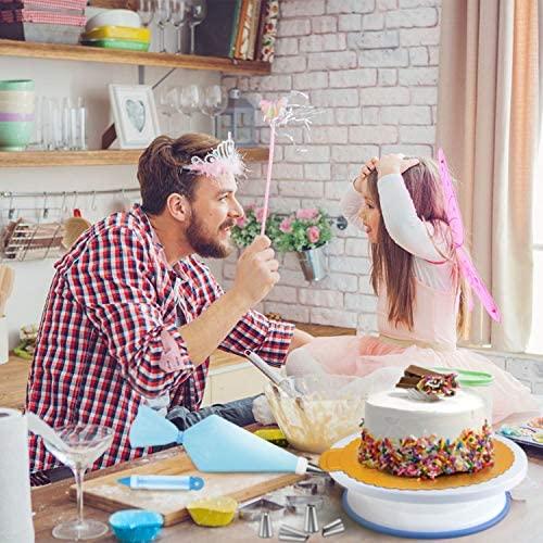 WisFox Plateau à Gâteaux, Kit de Pâtisserie Plateau Tournant de Gâteau 103PCS, Présentoir à Gâteau Douille Patisserie kit, Gâteaux Tournant pour Cuisine Décoration