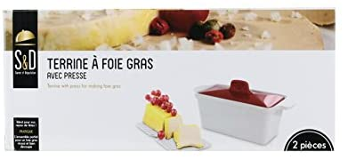 SAVEUR ET DEGUSTATION KC2301 Terrine avec Presse Foie Gras, CERAMIQUE, 25,5 x 11 x 27 cm