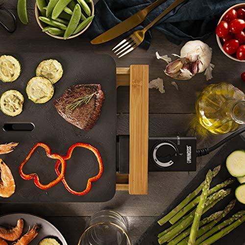 Plancha Gril Table Chef Pure compacte 103010 Princess - Habillage bambou - 25 x 33 cm - Plaque de gril teppanyaki en bambou – 2 Personnes