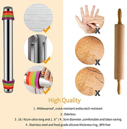 Tallgoo Rouleau à pâtisserie-Acier Inoxydable à 4 disques réglables avec Bague de marquage et Mesure.Livré avec tampon en silicone, panneau de coupe et brosse