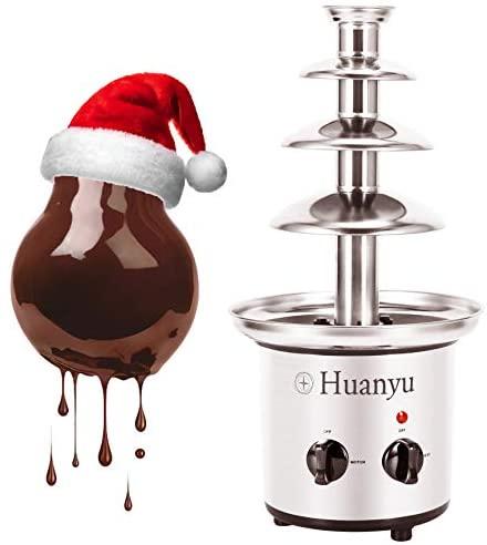 Huanyu Fontaine à Chocolat 4 étages Fondue au Chocolat en 304 acier inoxydable 1360g Capacité 170W Électrique Ménage Commercial Anniversaire Veille De Noël Fête