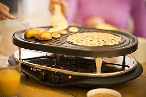 Russell Hobbs Appareil Raclette Multifonction 1200W 8 Personnes, Pierre à Griller, Plaque Grill, Plaques Crêpes, Compatibles Lave-Vaisselle - 21000-56 Fiesta