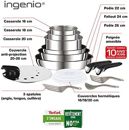 Tefal Ingenio Preference Batterie de cuisine 15 pièces induction, Casseroles non revêtues, Poêles, Couvercles anti projections + hermétiques, Spatules, Poignées, Inox L9409602