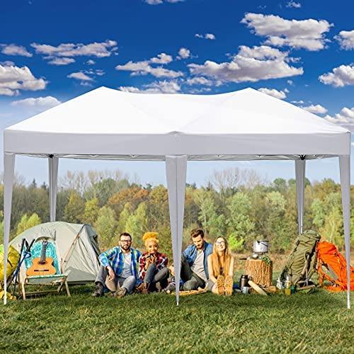 3x6 m Tonnelle de Jardin Tonnelle Pliante Exterieur 3x3 m Barnum Pliable Tente de Reception, Gazebo Pliant Imperméable avec 4 Parois pour Jardin, Fête, Camping, Festival, Mariage (Blanc, 3x6m)