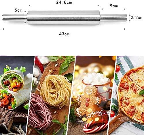 Crethink Lot de 3 rouleaux à pâtisserie en acier inoxydable antiadhésif pour pâtisserie en silicone