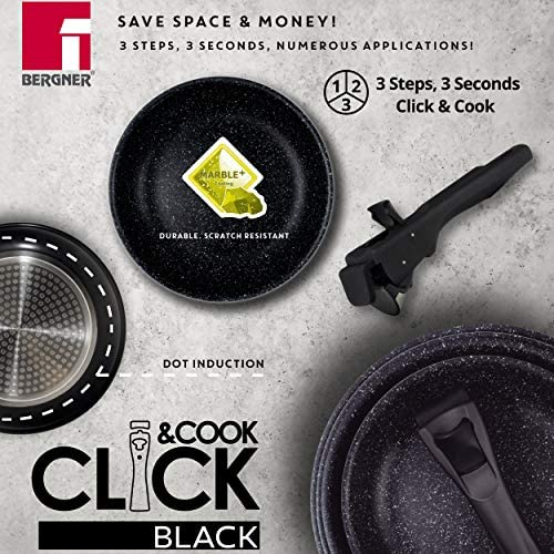 Bergner Lot de 3 casseroles Ø 16 + 18 + 20 cm Aluminium pressé Compatible induction Click & Cook Noir avec manche Click & Cook