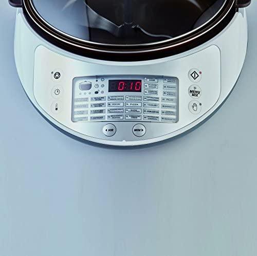 Ariete 2945 Multicooker Twist Autocuiseur Multifonction avec Lame Mélangeuse, Écran LCD, 30 Programmes Prédéfinis, Récipient de 5L, Livre de Recettes (Français Non Garanti), Blanc / Gris