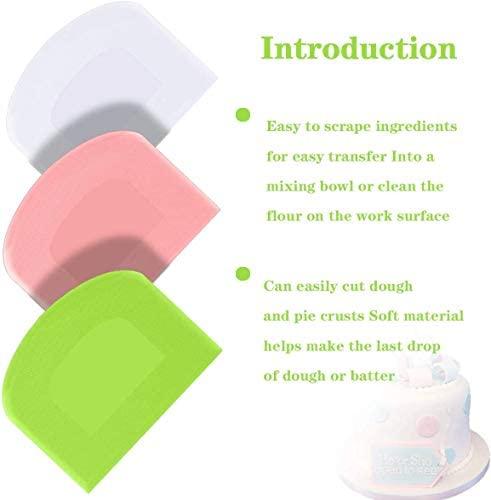 Ailiver Grattoir à Pâte en Plastique Corne Pâtisserie,Coupe pâte,3 Pièces Plastique Racloir Patisserie, Spatules pour du Pain pour Cuisine, Pâtisserie, Crêpes,12x9,5cm (Rose+ Blanc+Vert)
