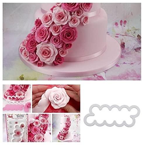 CHSYOO Set de 3 tailles gâteau roses cookie cutter, ustensiles de cuisson pour bricolage décoration fondant tartelettes massepain