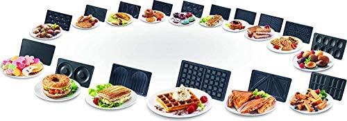 Tefal SW852D Snack Collection, Plaques Gaufres et Croque monsieur incluses, 2 Plaques Interchangeables, Noir/Acier Inoxydable, 700 W