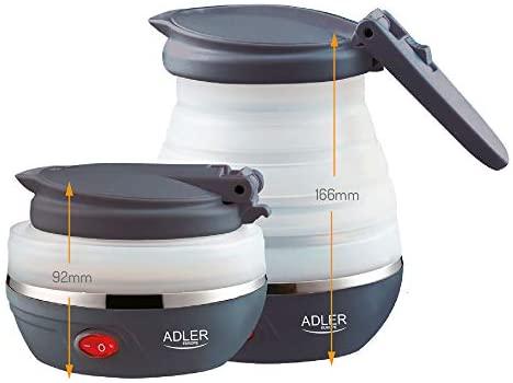 Adler AD 1279 AD1279 Bouilloire électrique, 750 W, 0.6 liters, Blanc et Gris foncé