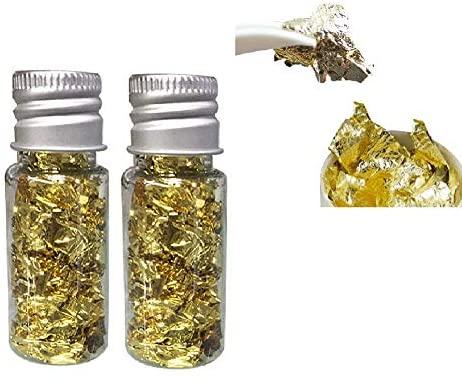 Kylewo Feuille d'or Comestible Flocons de Feuilles d'or, 24K Flocons d'or Comestible Alimentaire décoration Feuille de Papier Cuisine Cuisine Mousse Cuisson pâtisserie Arts Artisanat décor