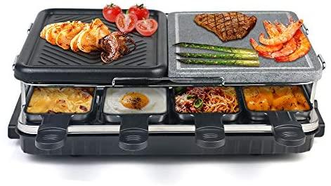 Raclette 8 Personnes, Appareil a Raclette avec Pierre Naturelle et Plaque en Fonte Raclette Multifonction 2-IN-1 pour 8 personnes, Antiadhésif Raclette Grill 1300W - Noir