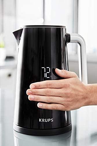 Krups BW8018 Smart'n Light Bouilloire électrique 5 niveaux de température Affichage numérique 30 minutes Fonction de maintien au chaud   Auto-Off   Capacité 1,7 L   Construction double paroi   Noir