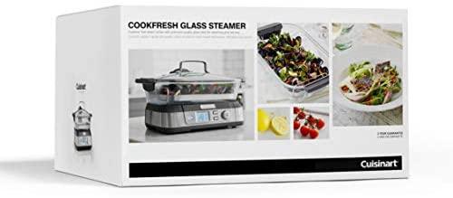 Cuisinart STM1000E Cuiseur à vapeur professionnel en verre, capacité 5L, 1800w, acier inoxydable