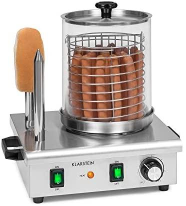 Klarstein Wurstfabrik Pro 550 Hot Dog Maker : 550W, 2 broches chauffantes, contrôle de température 30-100 °C, cylindre en verre: Ø 20 cm, cage en inox: Ø 17 cm, cuisieur de saucisses pro, argent