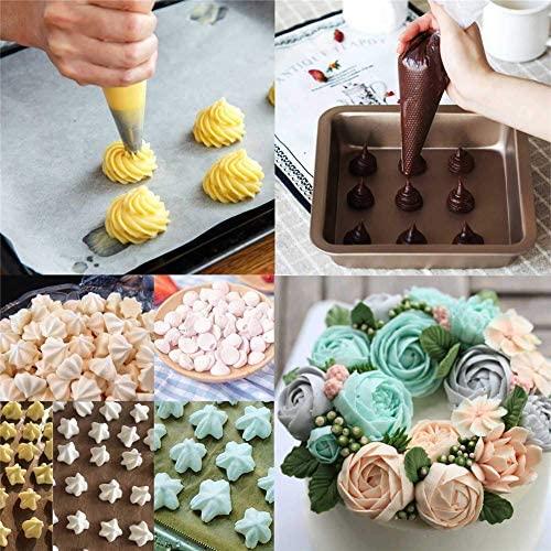 Nifogo Poches à Douille Jetable 100 & 2 Sac à Pâtisserie Silicone Réutilisable - Sacs à Douille en Plastique pour Glaçage et Décoration de Gâteaux Crème (L-102PCS + 3 Grattoir Gâteau)