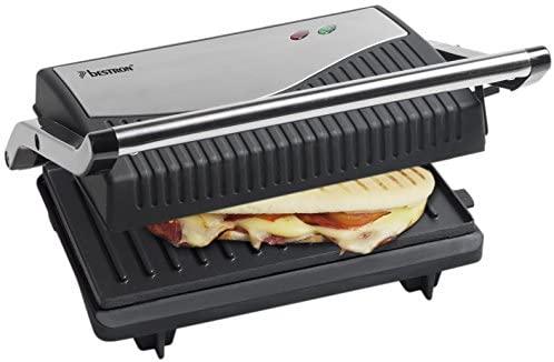 Bestron Presse-panini, Antiadhésif et déployable, 750 W, Noir