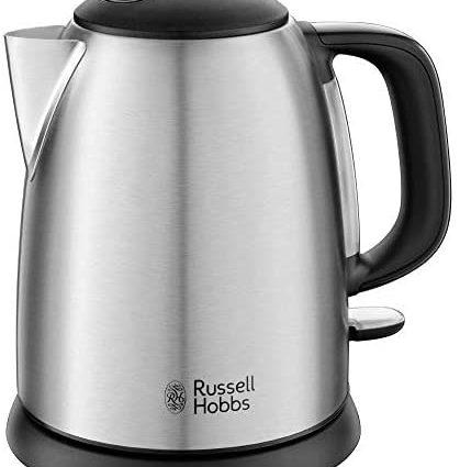 Russell Hobbs Bouilloire Compacte 1L, Ebullition Rapide, Filtre Anti-Calcaire Amovible, Lavable, Niveau d'Eau Visible - 24991-70 Adventure