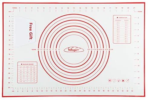 Tapis de Cuisson Patisserie en Silicone Anti-adhésif Réutilisable Baking Mat Fondant Pâte, 100% SANS Bisphénol-A (BPA),avec Mesure, 60 x 40 cm (Rouge+Grattoir Cadeau)