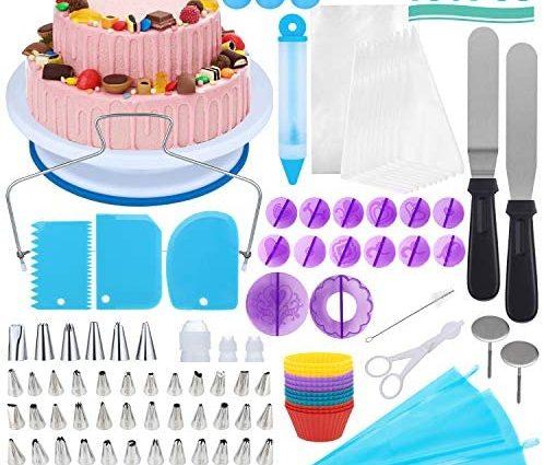 Vemingo Plateau Tournant De Gâteau, 150Pcs Kit De Pâtisserie Plateau Tournant De Gâteau Professionnel Ustensiles Kit, Outils De Cuisson,Idéal pour les débutants et les utilisateurs professionnels