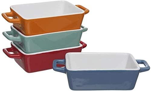Rectangulaire à Tapas Lot de 4 petits plats de cuisson/plat à lasagnes/H5 (x 14 x 10 cm) et sans Mason Cash Spatule en bambou, spatule