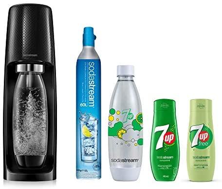 Sodastream Pack Spécial Machine Spirit Noire Plastique, Une Bouteille 1L, Une Bouteille FUSE 7UP et 2 Concentrés 7UP