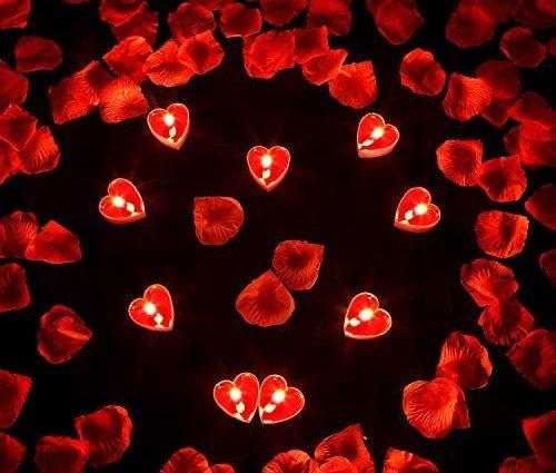 9 Paquets Bougies en Forme de Coeur Bougie d'Amour Romantique Bougies Chauffe-Plat avec 200 Pièces Pétales de Rose en Soie Pétales de Dispersion Filles pour Mariage Saint Valentin Centre de Table